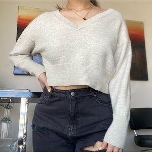 BABATON Cream V-neck Cropped Merino Wool Sweater